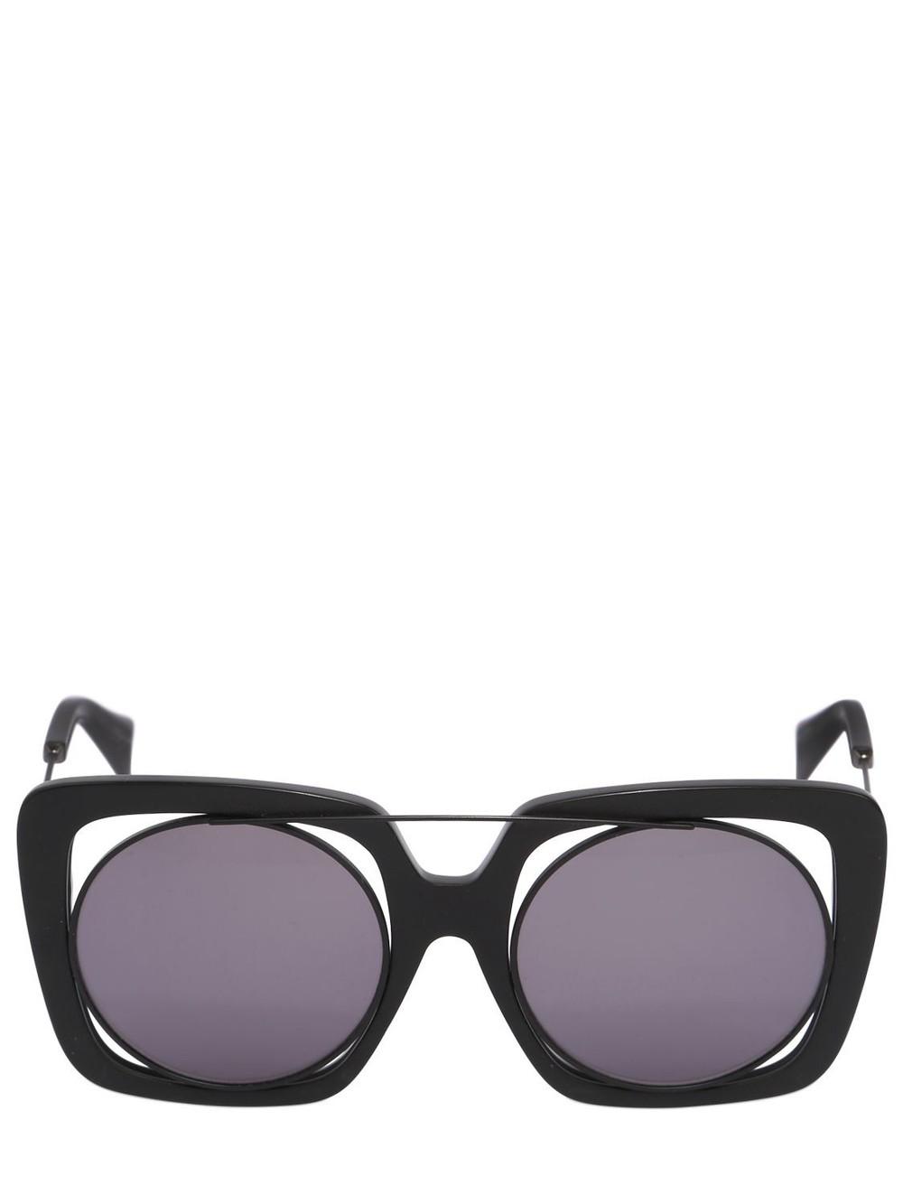 YOHJI YAMAMOTO Large Squared Frame In Frame Sunglasses in black