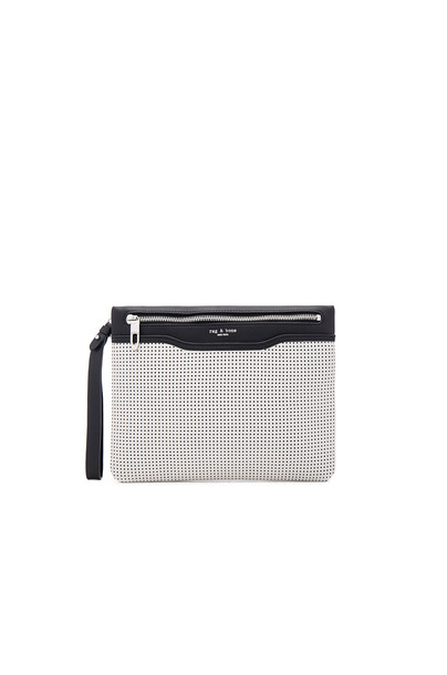 Rag & Bone zip clutch white black