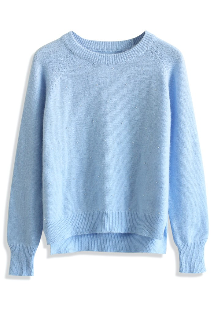 Pastel blue pearly mohair sweater