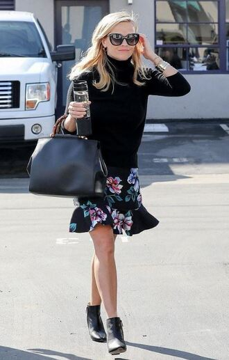 skirt floral floral skirt reese witherspoon top turtleneck turtleneck sweater spring outfits streetstyle ankle boots