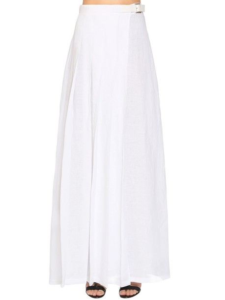 MAX MARA Pleated Linen Long Skirt W/ Buckle in white
