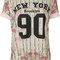 New womens floral 'new york' print ladies short sleeve baseball t-shirt top 8-14