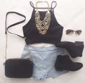top,on point clothing,skorts,denim,denim skort,halter top,halter crop top,black top,crop tops,statement necklace,necklace,gold,jewelry,jewels,crossbody bag,bag,mini bag,chelsea boots,black combat boots,black boots,ankle boots,sunglasses,sunnies,aviator sunglasses,black,style,trendy,stylish,cute,girly,summer,women,gorgeous,fashionista,chill,rad,casual,tumblr,tumblr outfit,skirt,tank top