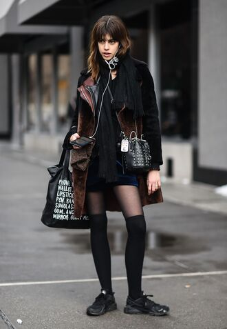 coat nyfw 2017 fashion week 2017 fashion week streetstyle brown brown coat socks knee high socks high socks skirt mini skirt blue skirt velvet velvet skirt bag sneakers black sneakers