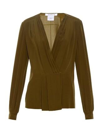 blouse pleated silk dark green top