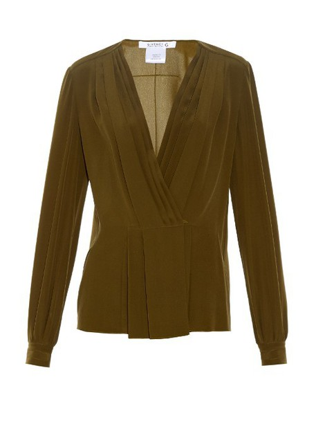 Givenchy blouse pleated silk dark green top