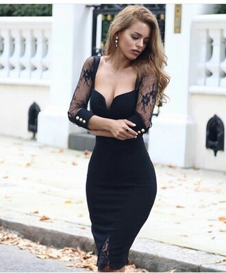 dress black dress summer dress cute dress sexy dress little black dress party dress long dress outfit outfit idea summer outfits cute outfits spring outfits date outfit party outfits sexy party dresses clubwear club dress style stylish fashion trendy long sleeves long sleeve dress slit dress special occasion dress