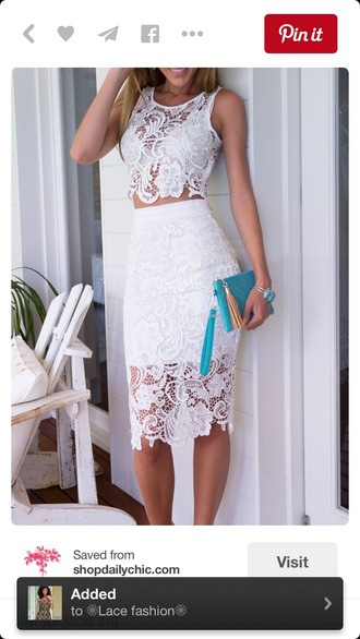 dress two-piece lace dress lace up lace skirt skirt top white crop tops crop tops lace top pencil skirt midi skirt