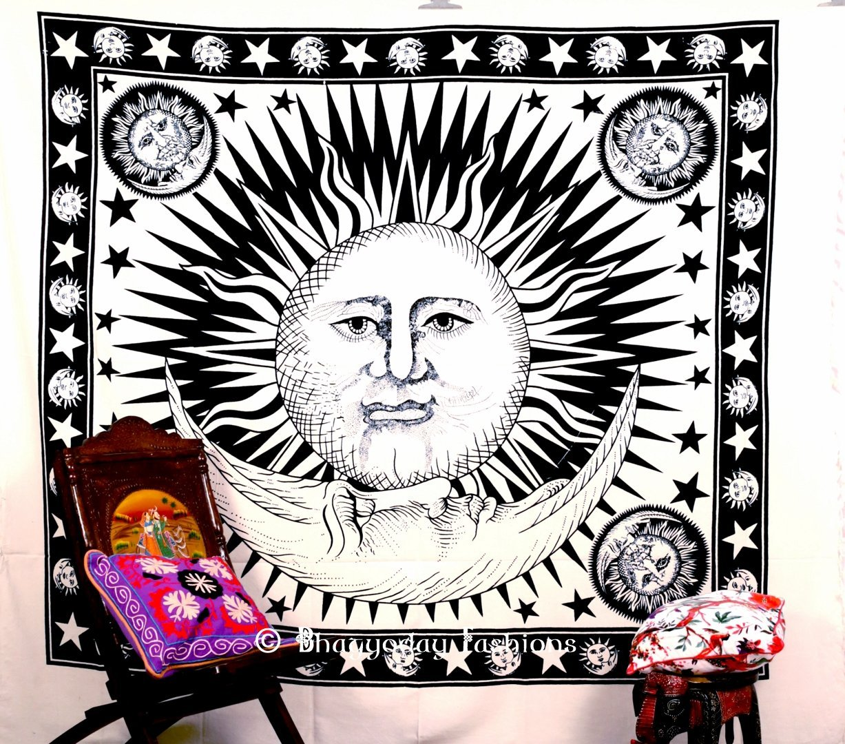 Amazon.com - Indian Sun Hippie Hippy Tapestry Wall Hanging Throw Cotton Bed Cover Bohemian Bed Decor Bed Spread Ethnic Decorative Art Table Cloth -
