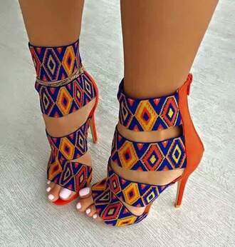 shoes print tribal pattern orange and blue multicolor