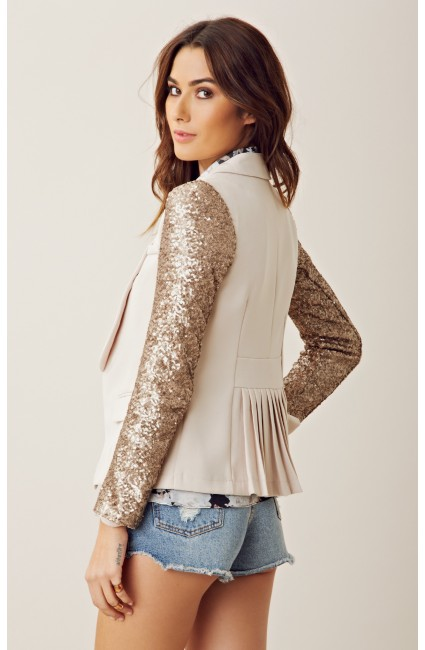 Line & Dot Sequin Sleeve Blazer