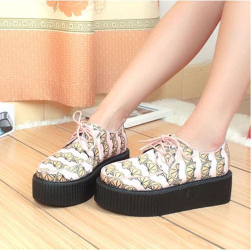Online Shop Size 35 39 Creepers Shoes Woman Casual Lemon