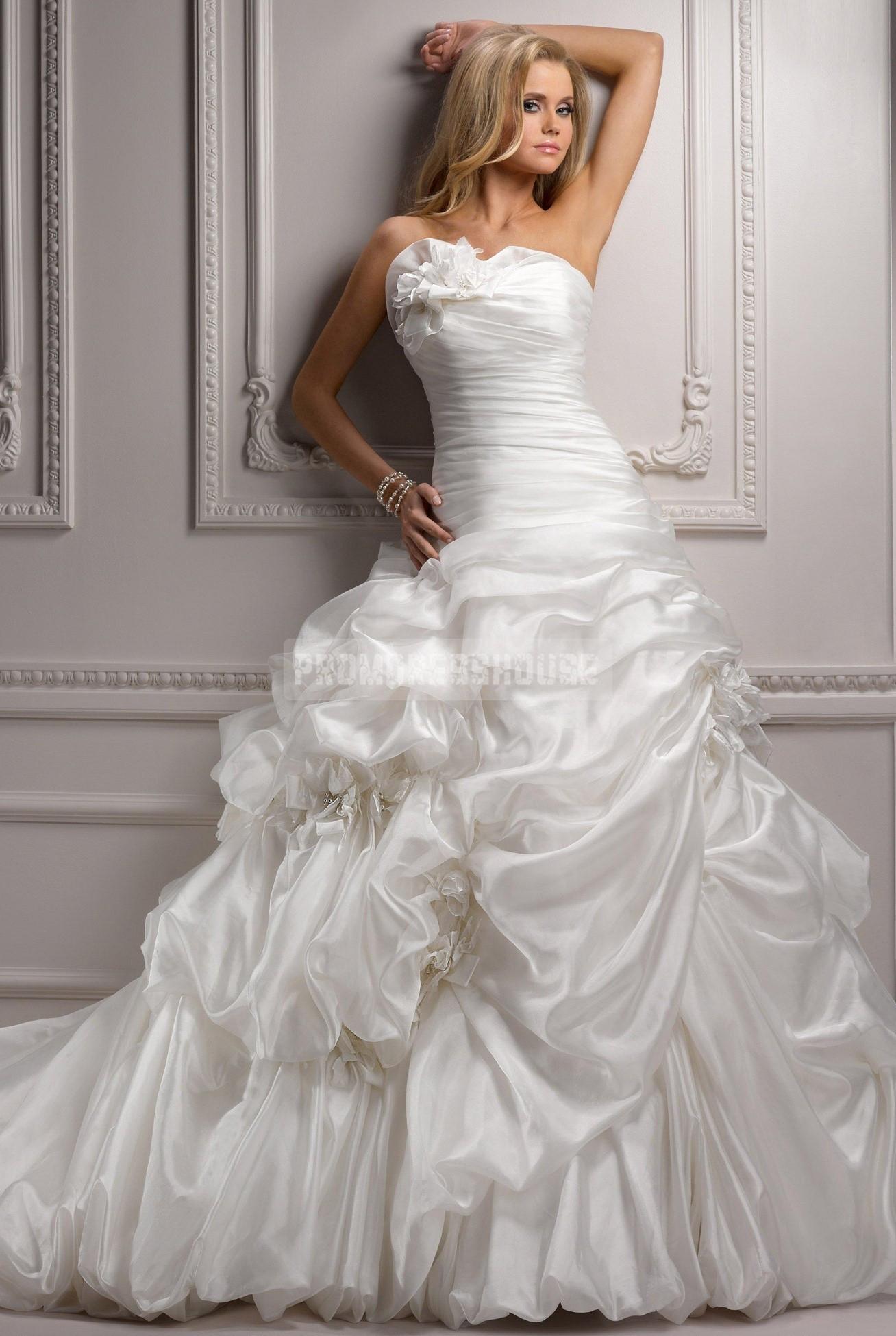 Cathedral train pick ups taffeta wedding dress