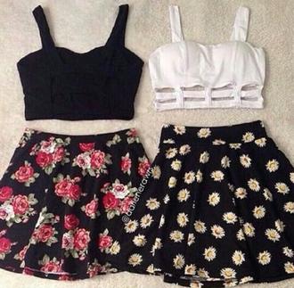 shirt top summer top summer outfits floral black white cute beautiful pretty skirt