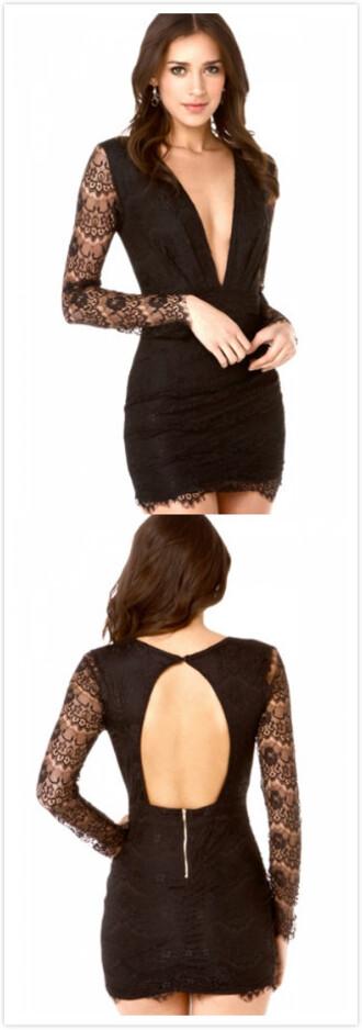 dress black dress plunge v neck mini clubwear dress sexy dress elegant clothes black boho dress little black dress black lace dress mini backless black dress lace dress