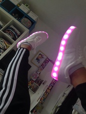 light up,trainers,laces,shiny,shoes,light shoes,basket,white shoes,pink shoes,light,shoed,white,pink,cute,sneakers,ledlights,adidas