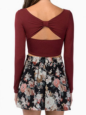 top choies crop tops wine red top cut out back top longsleeve crop top