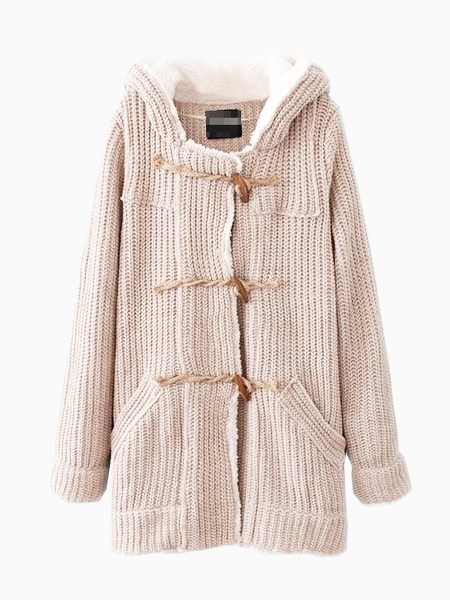 Beige Knit Coat In Fur With Horn Buttons   Choies