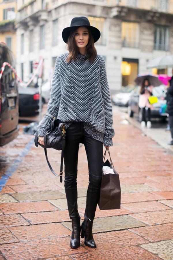 le fashion image hat sweater bag pants