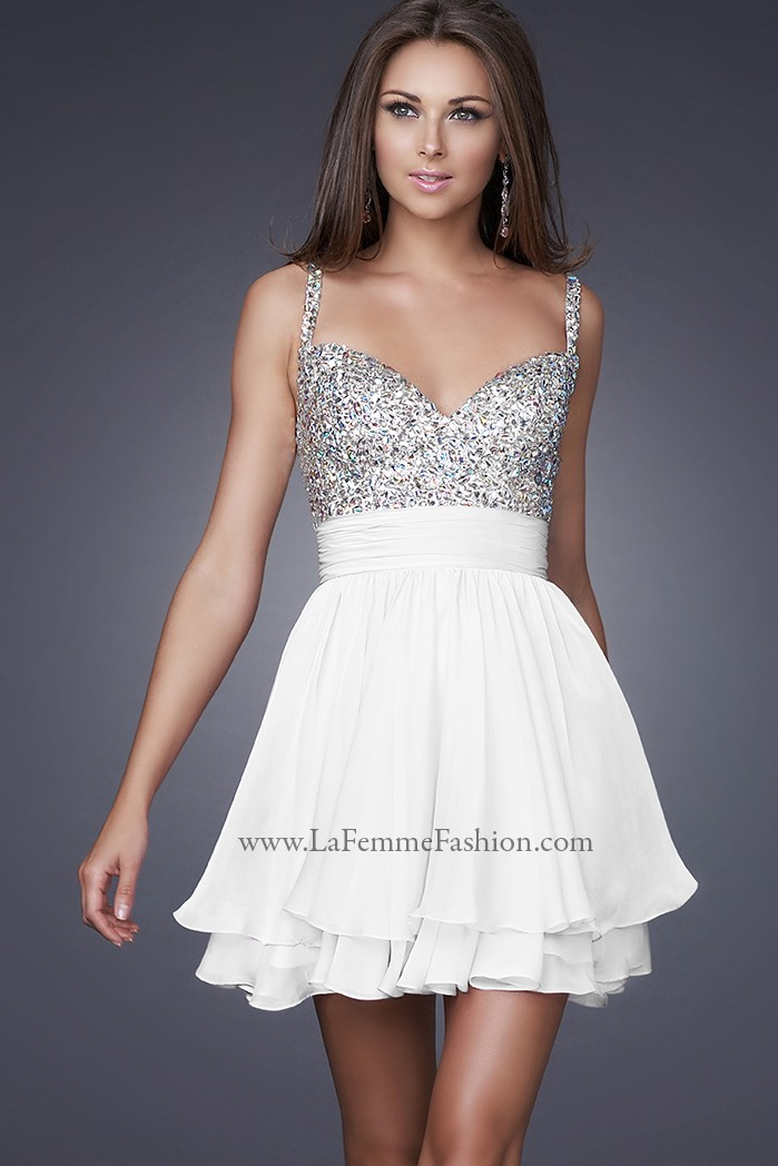 La Femme 16813 White Dress for $278: Short, Sweetheart