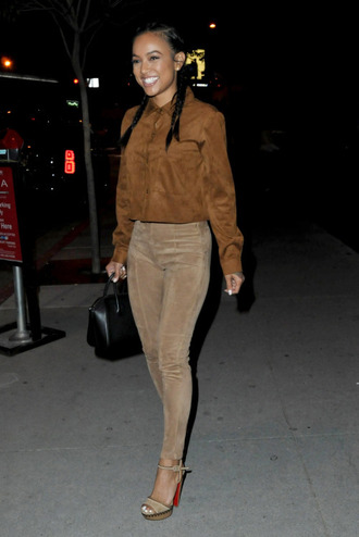 shoes top sandals suede karrueche pants shirt camel suede pants