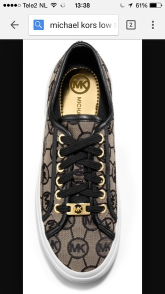 shoes sneakers black shoes gold gold shoes low sneakers micheal kors