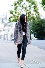 grey coat,faux fur coat,jacket,top,shoes,grey fur jacket,fur jacket,grey jacket,skinny jeans,black skinny jeans,aviator sunglasses,blogger