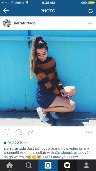 top sierra furtado sweater sweatshirt shoes slip on shoes vans skirt denim skirt mini skirt striped sweater urban outfitters american apparel blue skirt white shoes youtuber