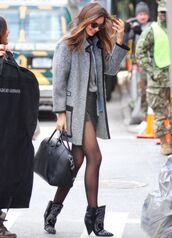 grey coat,boots,wool,leather trim,new york city,wool coat,gray coat,miranda kerr,streetstyle,givenchy bag