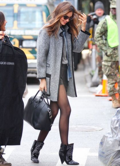 miranda kerr grey coat boots wool leather trim new york city wool coat streetstyle givenchy bag