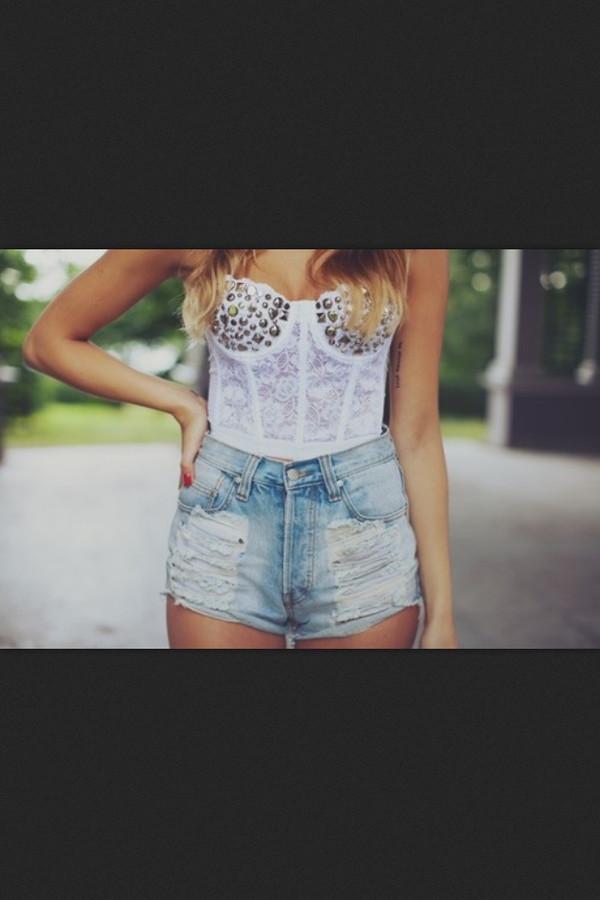 shirt bustier top studs