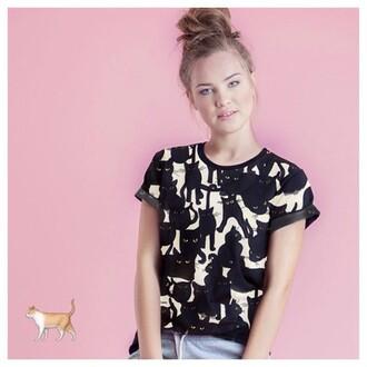 yeah bunny pattern t-shirt cats