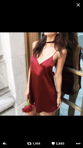 dress red dress silk jewels jewelry choker necklace velvet velvet choker burgundy necklace fashion toast