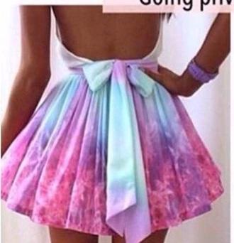 dress pastel tie dye galaxy skater dress. open back with bow