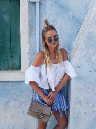 ohh couture blogger jewels bag off the shoulder white top shoulder bag sunglasses sunnies suede bag bardot top white off shoulder top top necklace dior so real dior silver sunglasses mirrored sunglasses hun summer outfits summer top chloe faye bag grey bag chloe chloe bag