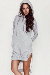 dress,hoodie,hoodie dress,grey,sweater dress,winter outfits,casual,winter sweater,dope,winter swag,bad bitches link up,baddies,badass,high low,winter coat,zaful