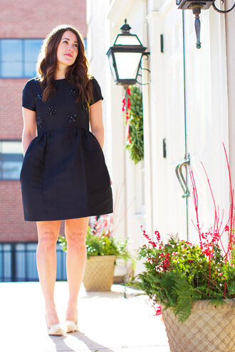 blogger sequins and stripes black dress embellished little black dress