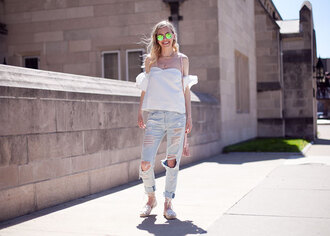 cocorosa blogger top jeans shoes sunglasses off the shoulder white top round sunglasses ripped jeans flats