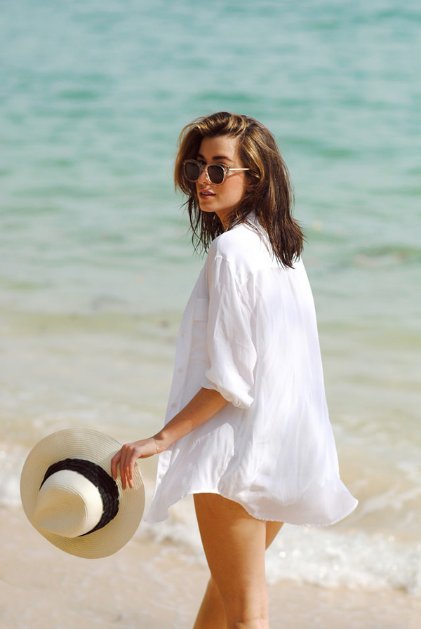 shirt bella dahl beach shirts beach cover up white shirt summer shirt white summer dress shirt dress button up sunglasses hat customized beach hat summer hats sun hat floppy hat rag and bone