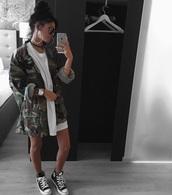 jacket,camouflage,tumblr,tumbrl outfits,dress,white,white dress,baddies,t-shirt,tshirt dress,camo jacket,fashion,green