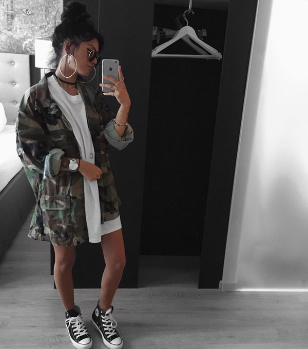 Jacket: camouflage, tumblr, tumbrl outfits, dress, white