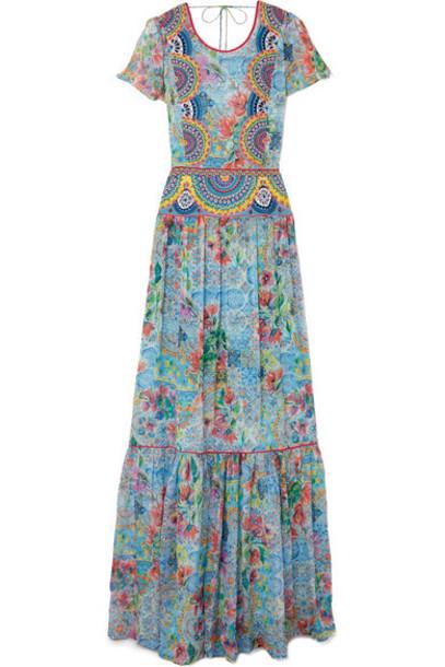 Matthew Williamson dress maxi dress maxi chiffon embroidered light blue silk light blue