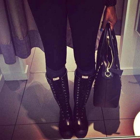 shoes lace up black boots