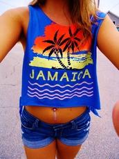 tank top,jamaica,tumblr,jewels,jamaica summer crop top,navel ring,shorts,clothes,jamacia,blue,print,girl,top,sunset,pretty
