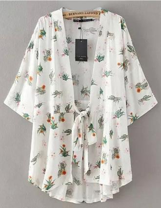 top brenda-shop kimono floral kimono cardigan chiffon cactus white shirt beach summer