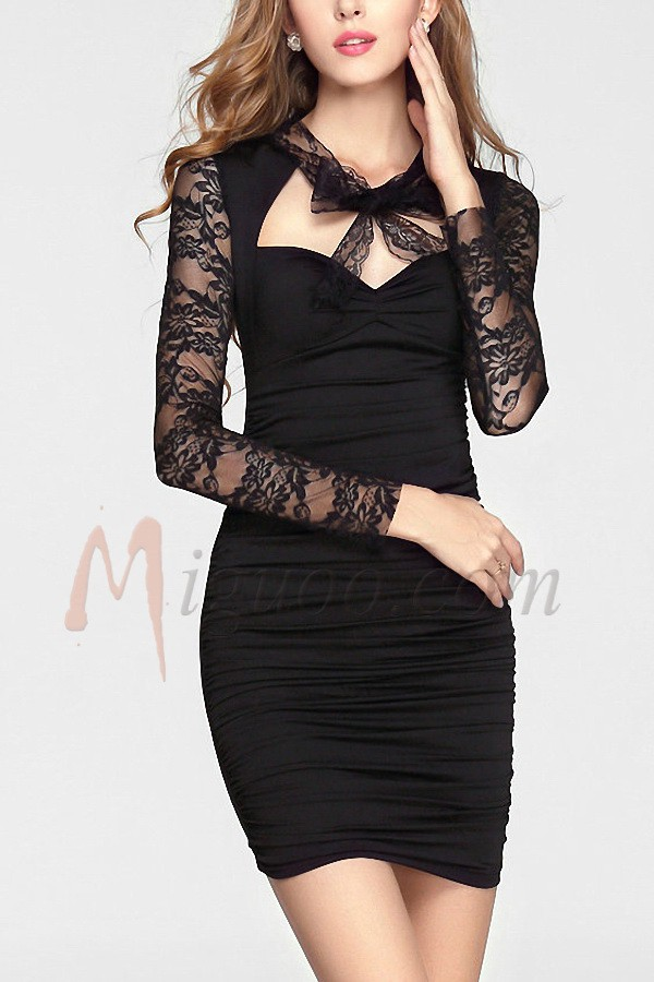 Sheath/Column Elastic Satin Sweetheart Black Cocktail Dresses - Miguoo.com