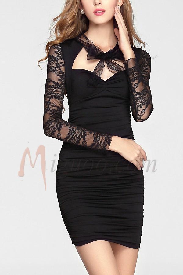 Sheath/Column Elastic Satin Sweetheart Black Cocktail Dresses - Miguoo.com
