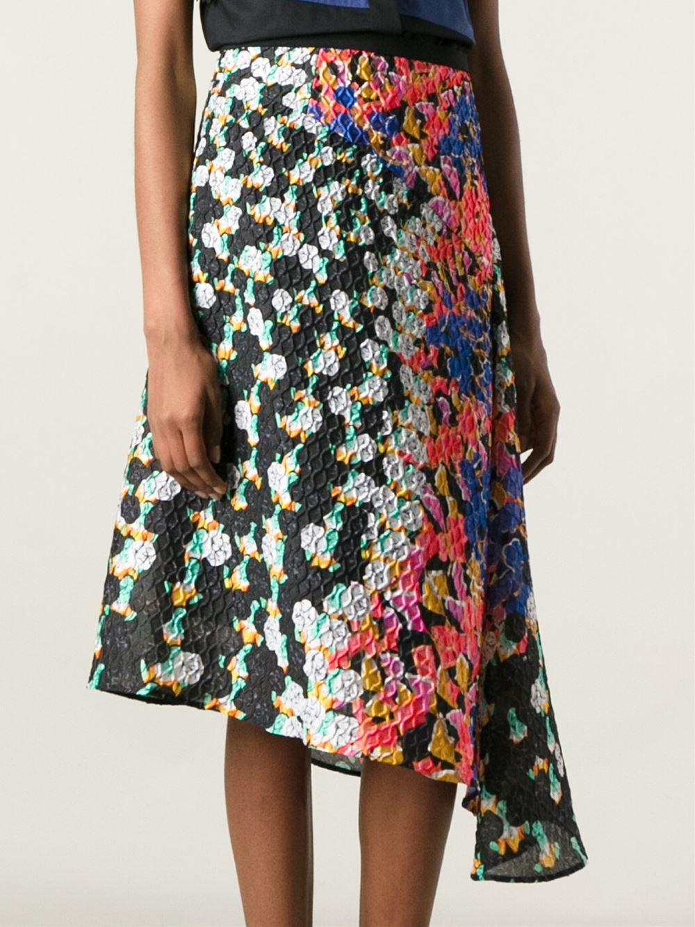 Peter pilotto textured printed asymmetric midi skirt