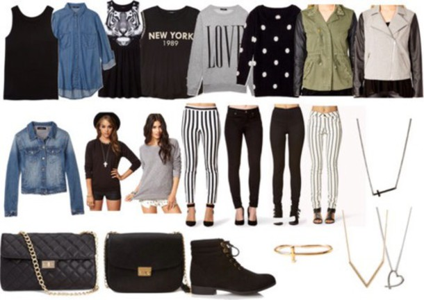 jeans stripes stipes polka dots multiple tops leggings purse shoes animals ❤ animal print blouse jacket back to school ankle boots