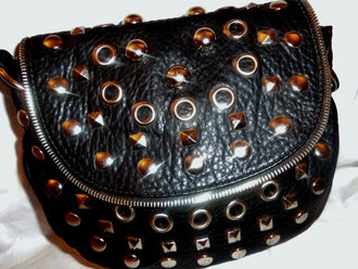 bag vintage kenzie black purse black clutch zip studs hobo bag